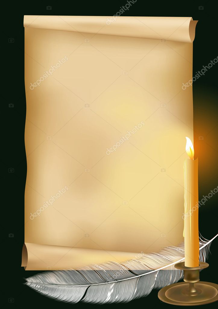 Vector illustration with old paper, candle and  feather — Stock Vector #1680326