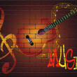 Graffiti with guitar on the wall - Stock Vector