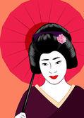 Japanese geisha — Stock Vector