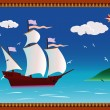 Stock Vector: Caravel and seagulls