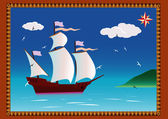 Caravel and seagulls — Stock Vector