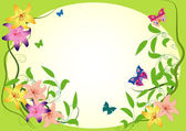Background with butterfly and flowers — Stock Vector