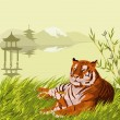 Tiger and pagoda — Stock Vector