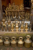 Counter with bronze goods — Stock Photo
