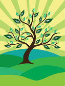 树、 太阳和字段 — 图库矢量图片