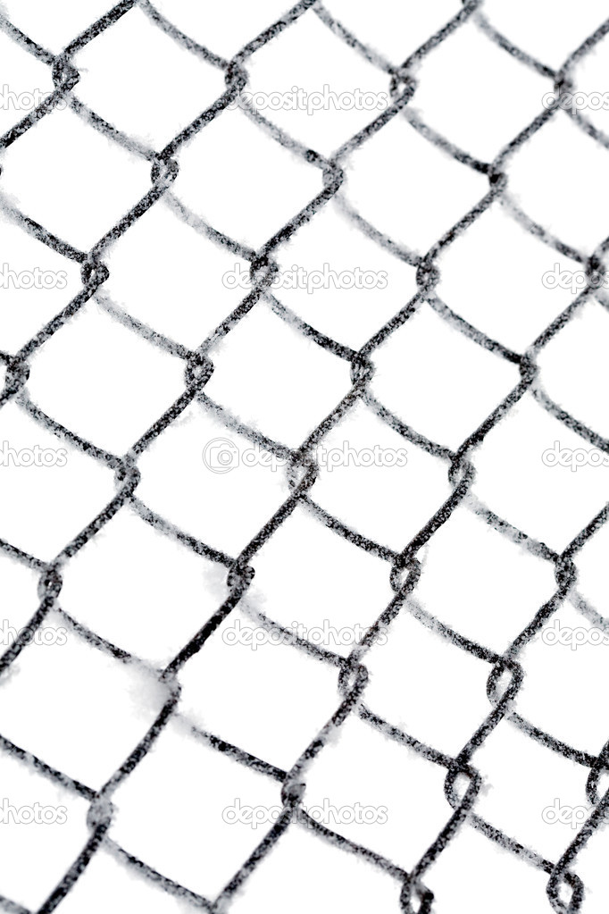 Hoarfrost on chain link fence isolated on white — Stock Photo #1734385