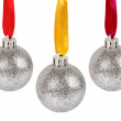 Royalty-Free Stock Photo: Christmas silver balls with ribbons