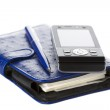 Organizer, pen and mobile phone — Stock Photo