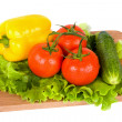 Fresh vegetables on wooden board — Stock Photo
