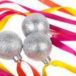 Christmas silver balls with ribbons — Stock Photo