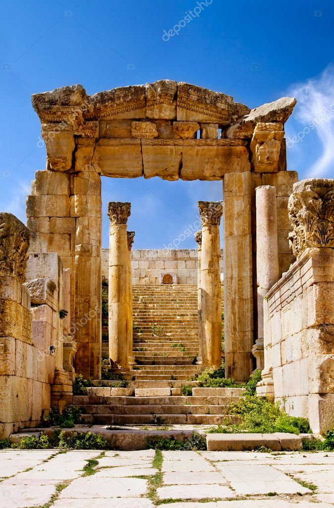 Ancient arch of Artemis Temple in Jerash, Jordan  Stock Photo #2055071