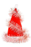 Santa's red hat with pink tinsel — Foto Stock
