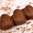 Three chocolate hearts — Stock Photo