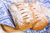 Two puff pastry with sugar powder — Stock Photo