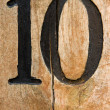 Number ten on cracked wood — Stock Photo #1735934