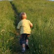 Three years old boy running — Stock Photo