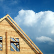 Windows in a new wooden house — Stock Photo