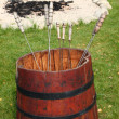 Red barrel with metal skewers — Foto de Stock