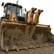 Dirty yellow  bulldozer isolated — Stock Photo
