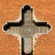 Big cross on church wall — Stock Photo