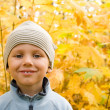 Happy boy smiling in autumnal scenery - Stock Photo