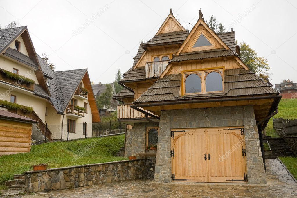 Traditional hooden house in moutains — Stock Photo ...
