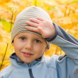 Happy boy gesturing in autumnal scenery — Stock Photo