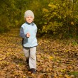 Boy running in autumn scenery — Stock Photo