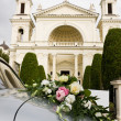 Wedding car and church — Stock Photo