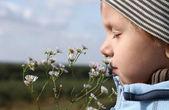 Jonge jongen ruikende herfst bloem — Stockfoto