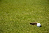 Golf ball close to hole — Stockfoto