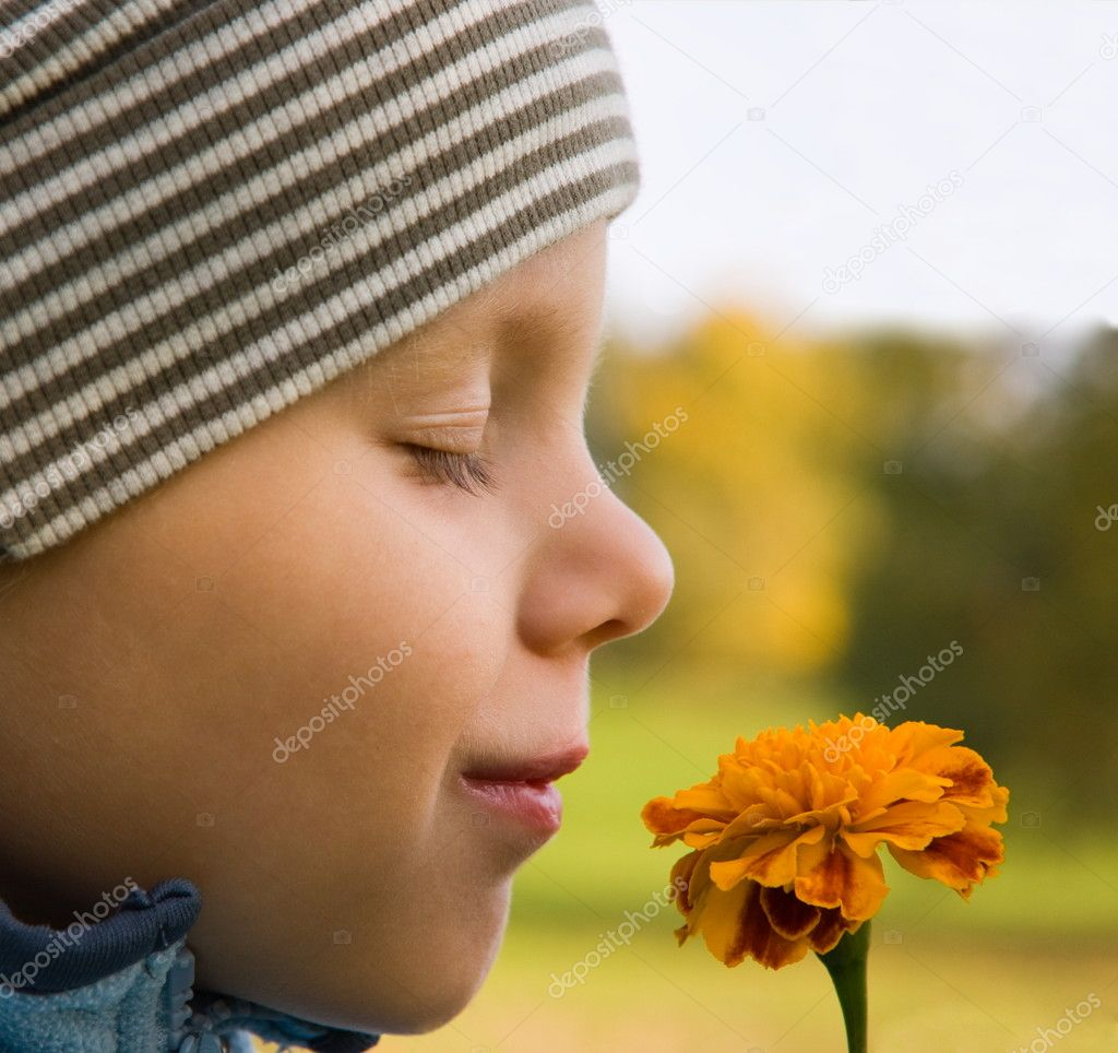 3 years old boy smelling flower in autumnal scenery — Stock Photo #2045137