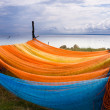 Stock Photo: Colorful fishing nets drying