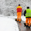 Stock Photo: Workers removing first snow