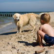 Boy playing with dog on beach — ストック写真