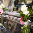 Wedding car flowers decorated — Stock Photo