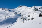 Ski lift in alps mountains — Stock Photo
