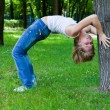 Gymnastics in park — Stock Photo