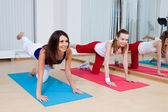 Beautiful girls are engaged in gym — Stock Photo