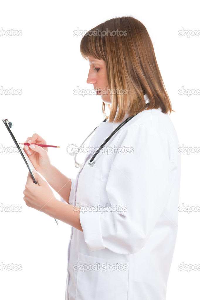 Doctor writes in a notebook isolated on a white background — Stock Photo #1715764