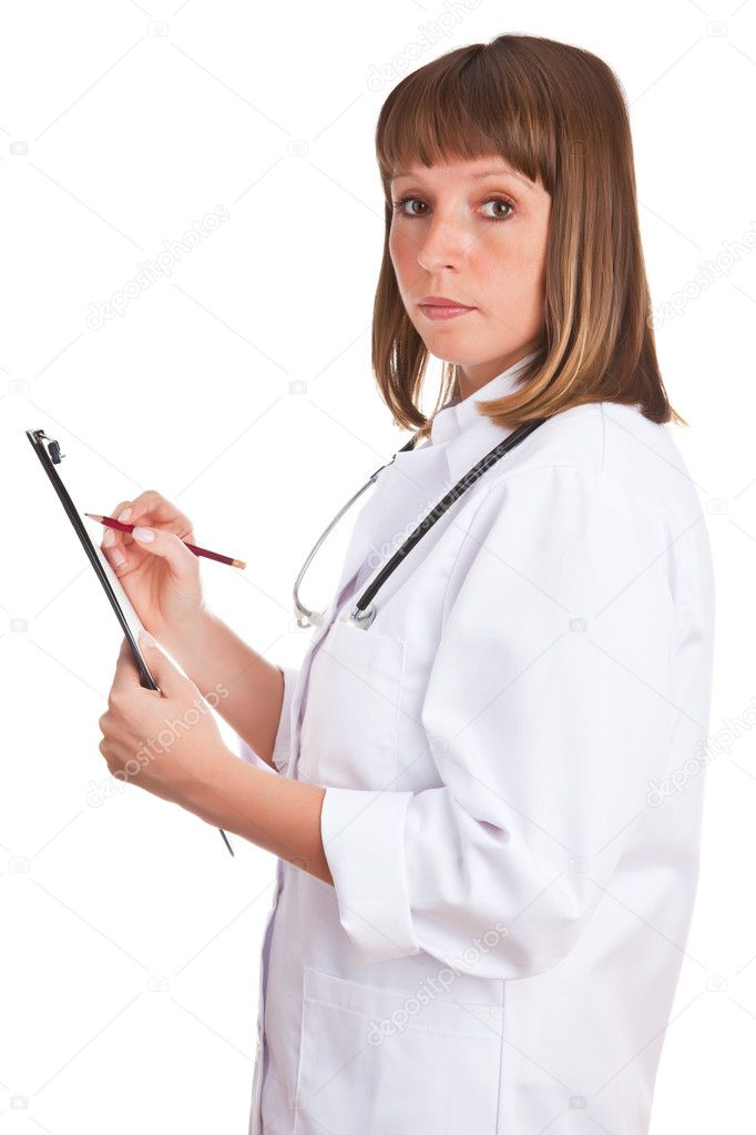 Doctor writes in a notebook isolated on a white background  Stock Photo #1715767