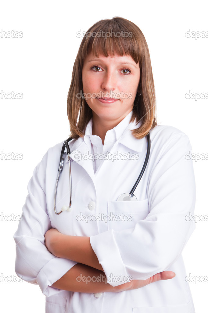 Doctor in a white suit isolated on a white background  Photo #1717208