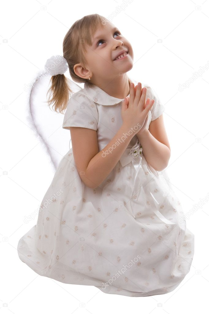 Girl in a white dress with wings isolated on a white background — Stock Photo #1736227