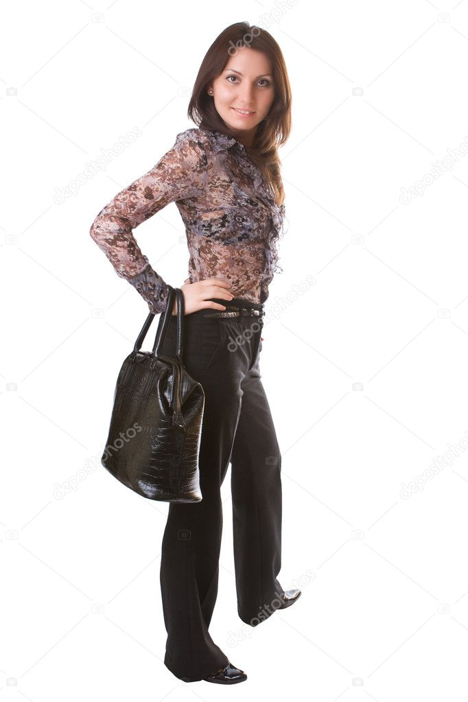 Beautiful girl with a bag isolated on a white background — Stock Photo #1738279