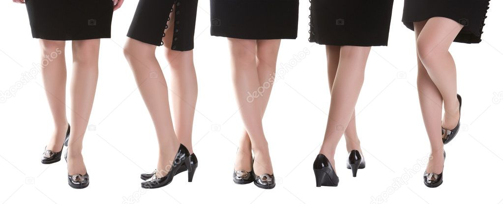 Lot of beautiful female legs isolated at white — Stock Photo #1753942
