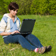 Girl with a laptop — Foto Stock