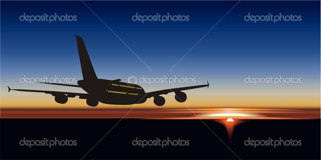 Vector illustration A380 passenger jetliner silhouette.  — Stock Vector #1718819