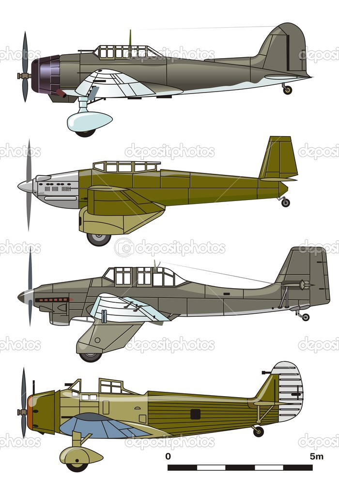 Vector dive bombers 1930-s — Stock Vector #1719516
