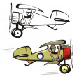 Vector cartoon biplane — Stock Vector
