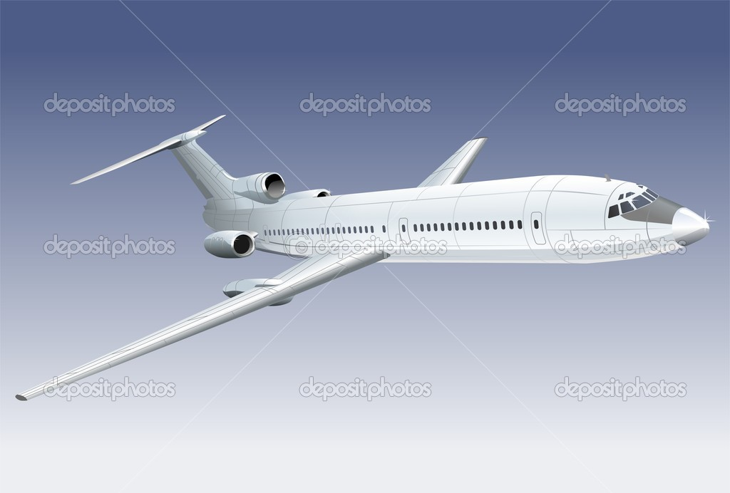 Vector illustration passenger jet  — Vettoriali Stock  #1720670